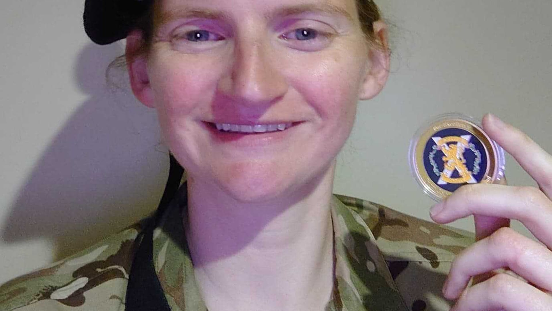 Lt Browne with her Colonel Cadets Coin