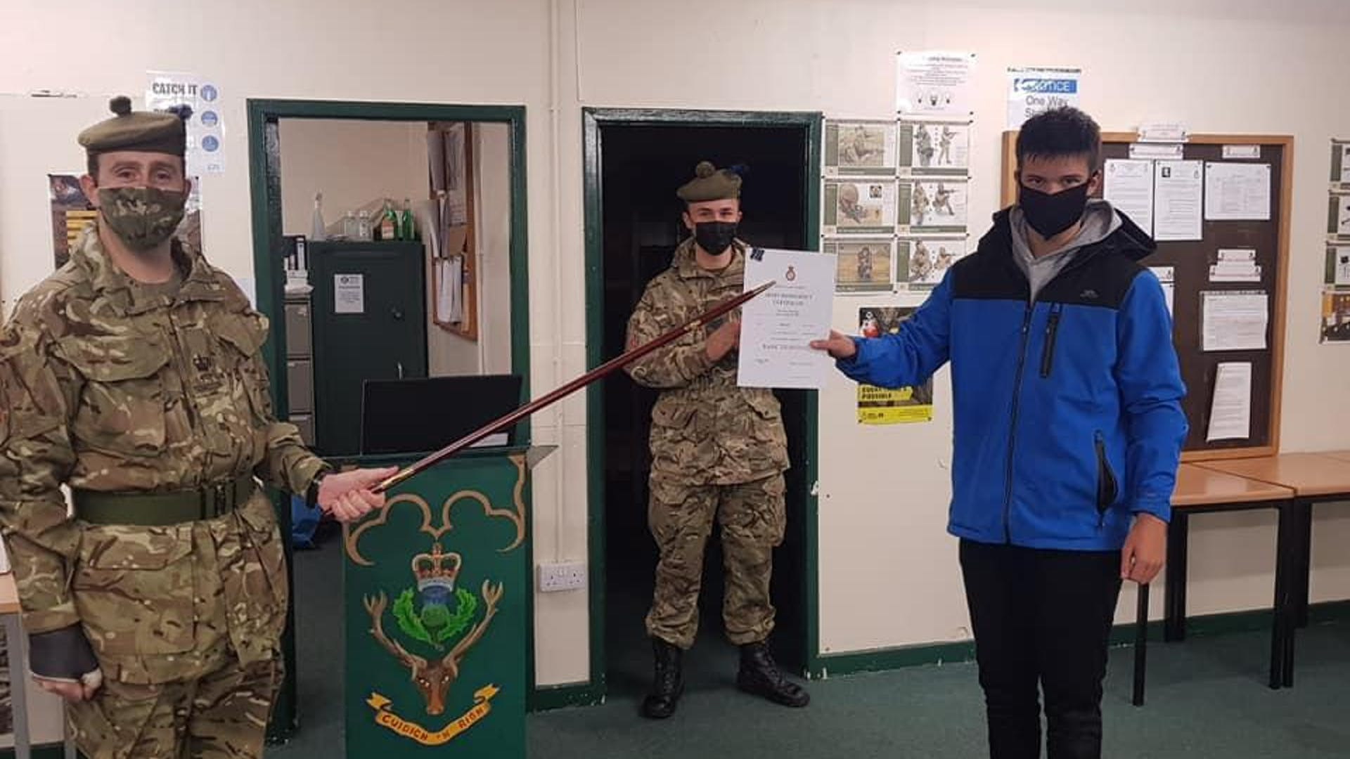 Cdt Liam Squire who was presented his Basic Certificate by Detachment Commander CSMI Mac Iver