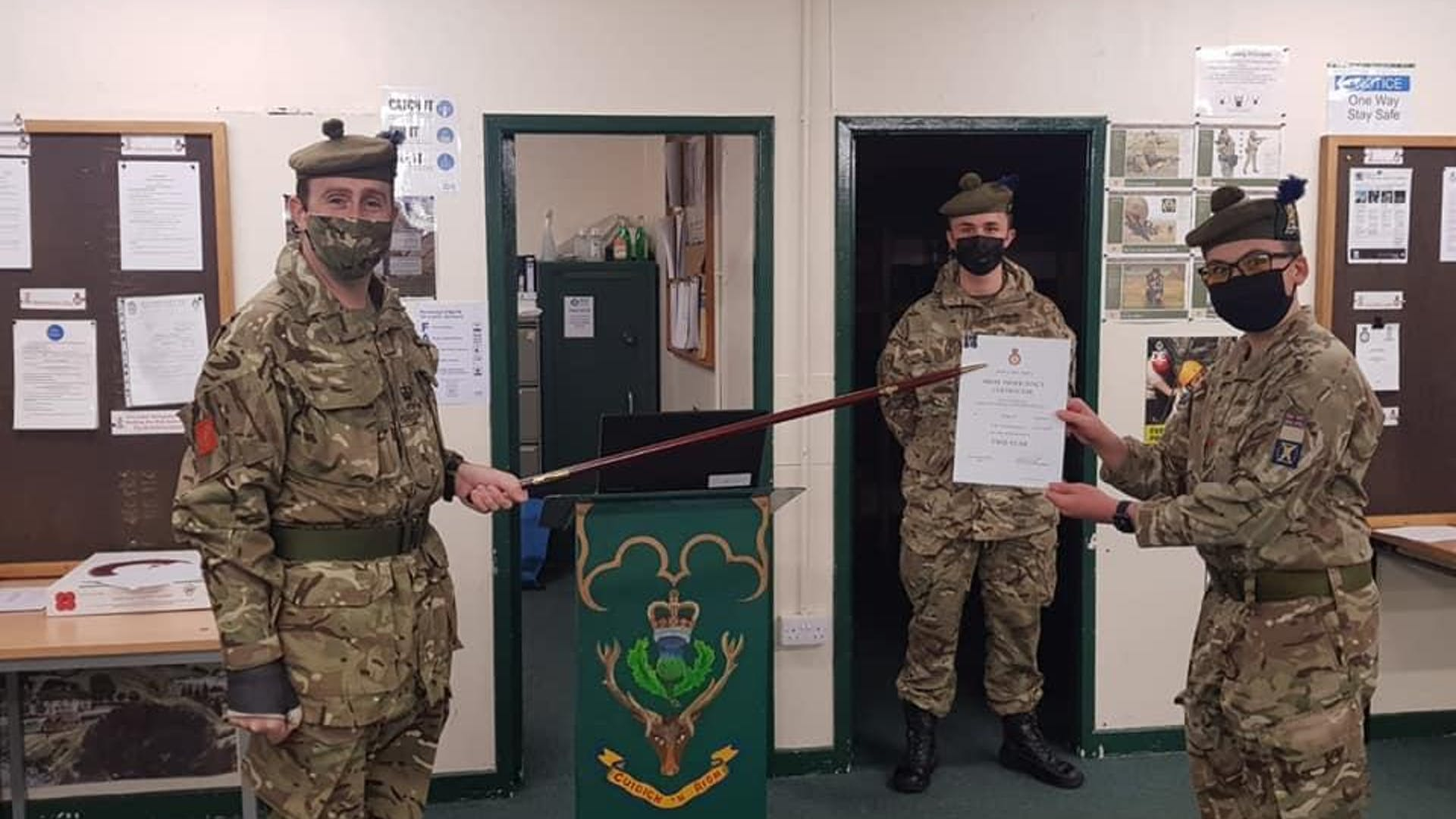 Cpl Nathanael Mccully who was presented with his 2 Star Certificate by Detachment Commander CSMI Mac Iver