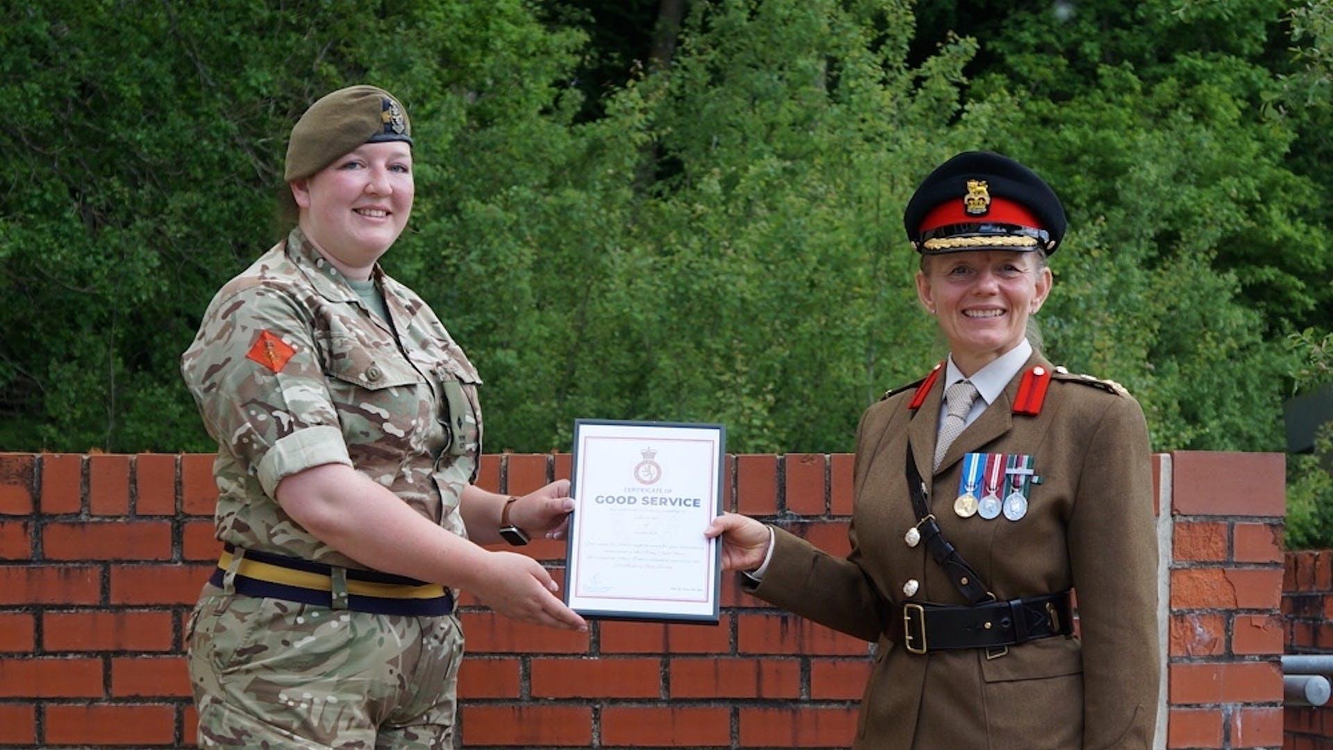 2 Lt Lanigan Certificate of Good Service