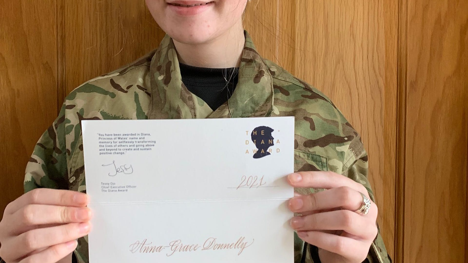 Cadet Anna Grace Donnelly has been recognised with the highest accolade a young person can achieve The Diane Award