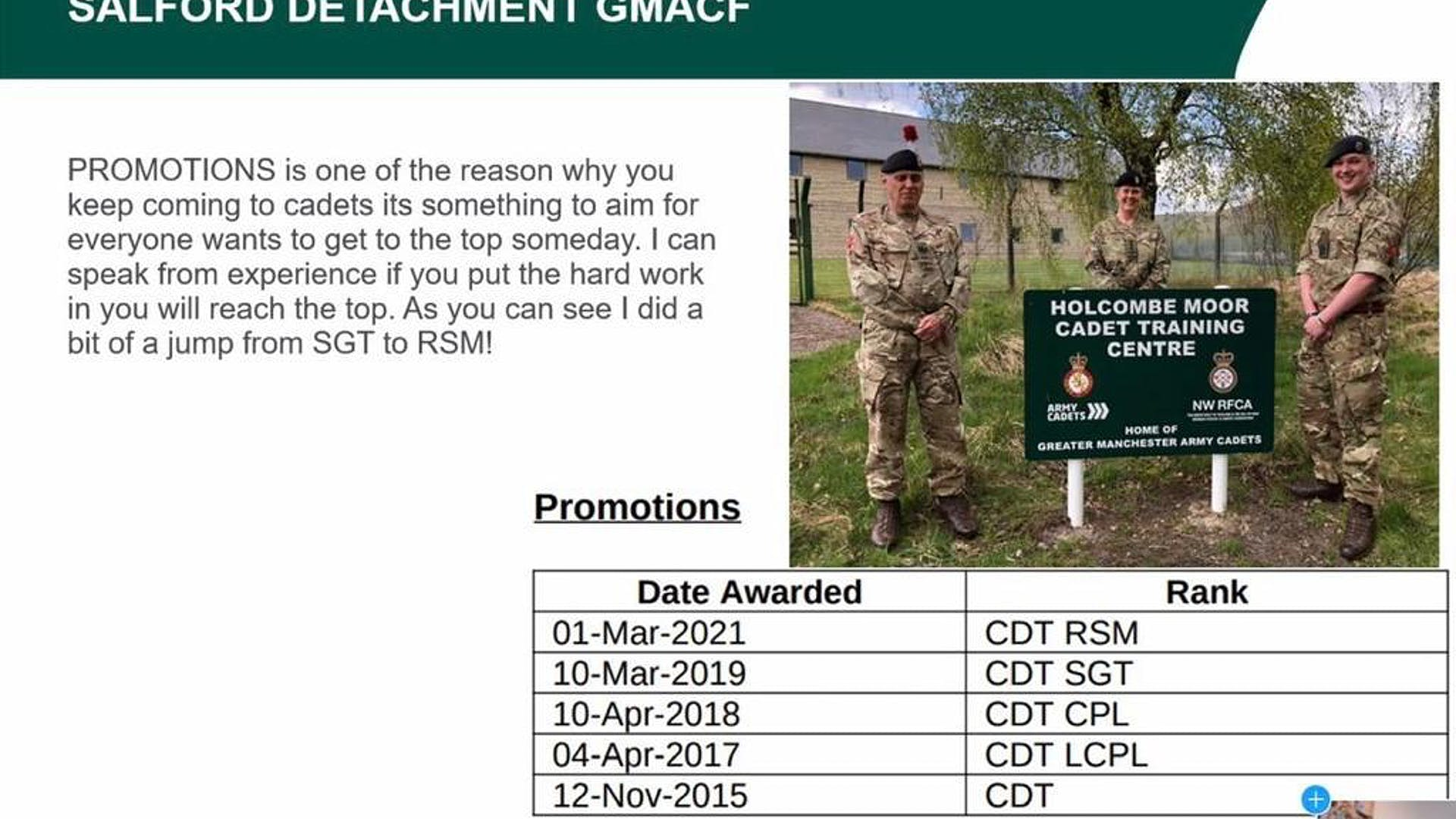 Talk to cadets by Cadet RSM May 2021 3