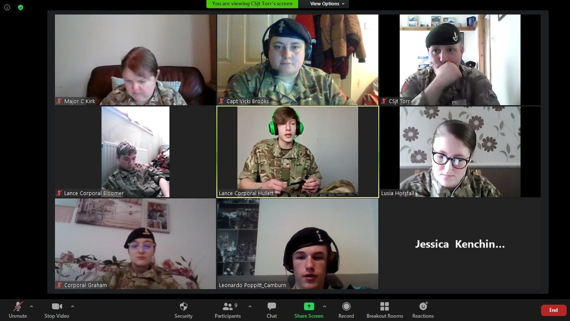 Lcpl Hullet quizzing the cadets