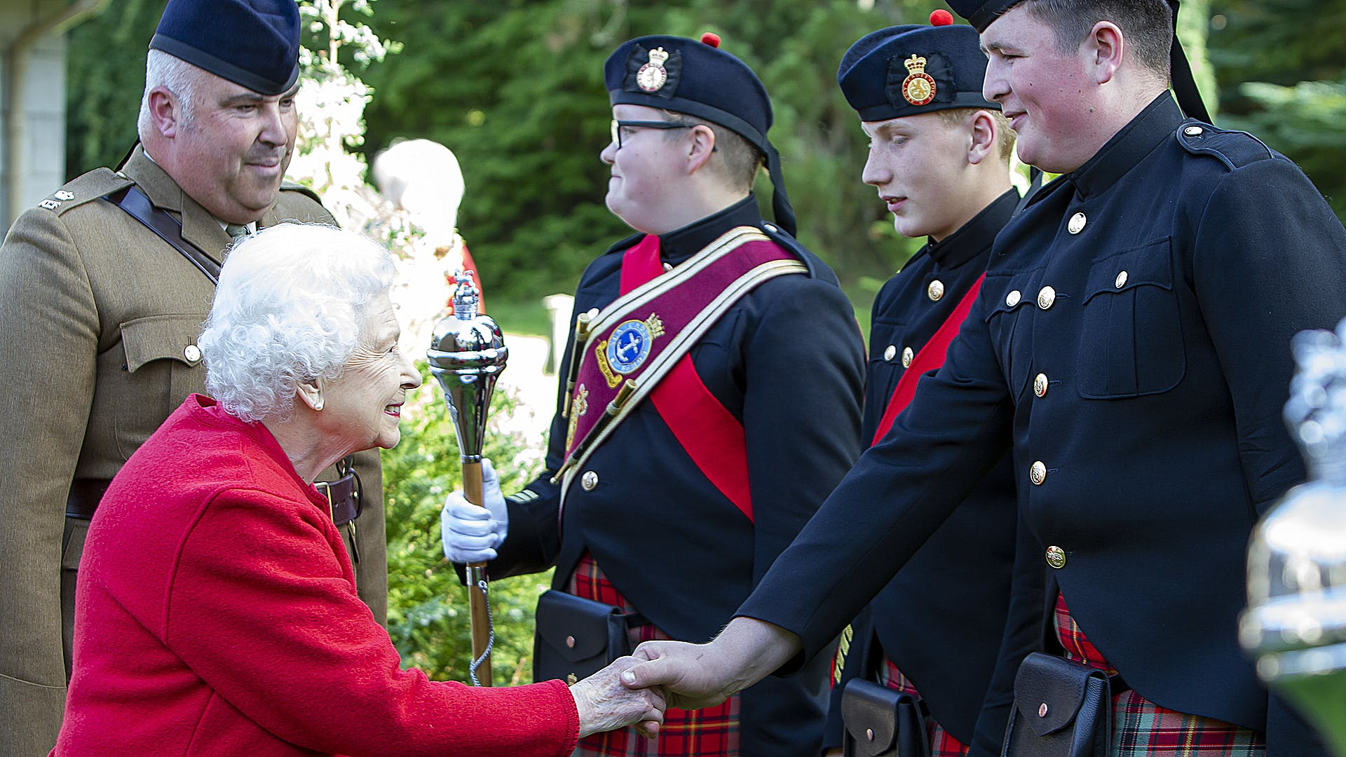 The Queen meets cadets after the Beating of the Retreat